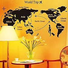 <b>World Map</b> Trip Black <b>Simple</b> Diy <b>Wall</b> Stickers Art Decor Mural ...