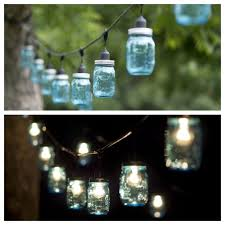 blue mason jar string lights i bought bare commercial grade string lights and cut 125 holes into blue mason jar tops using a hole saw then i sealed blue mason jar string lights