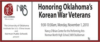 ou us china institute  honoring oklahoma    s korean war veterans    korean war ticket