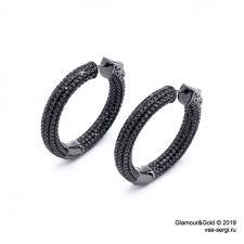 Купить серебряные <b>серьги</b>-<b>кольца с черными</b> агатами