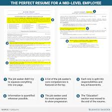 excellent résumé for a mid level employee business insider resume mid level