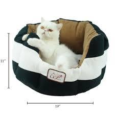 Lazypet Black White <b>Striped</b> Suede Fabric Sleeper Cuddler <b>Pet</b> Dog ...