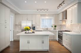 modern track lighting kitchen transitional interior designs with soft color white island artistic home office track