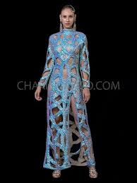 CHARISMATICO Pearlescent <b>Blue Sexy Cutout</b> Gown