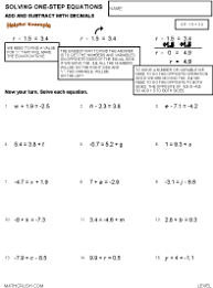 Worksheets on Decimals by Math CrushPreview of math worksheet on Solving One-Step Equations - Add, Subtract with Decimals