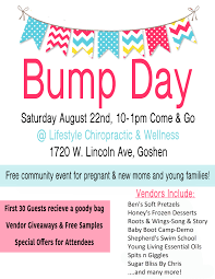 lifestyle chiropractic and wellness bump day event event for moms babies kids all are welcome great giveaways and samples at each booth raffle for beautiful chalk painted furniture