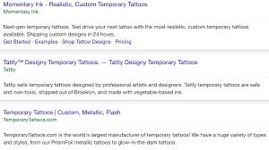 a simple guide to writing exceptional meta descriptions screenshot of serp for temporary tattoos
