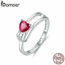 BAMOER Women Solid Finger Red CZ Ring <b>S925 Sterling silver</b> ...