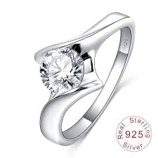 Ring <b>Luxury</b> Jewelry Real Pure <b>S925</b> Sterling Silver With <b>Round</b> ...