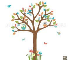 <b>Owls</b> and <b>Birds Tree</b> Wall Decal,Birdhouse,Swirl <b>Tree</b>,<b>Flowers</b> Wall ...