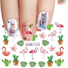 <b>1pcs</b> Flamingo Nail Water Stickers Cat Giraffe <b>Feather Bird</b> Deer ...