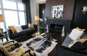 black paint living room black furniture yellow accents fireplace black furniture what color walls
