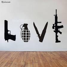Online Shop <b>Banksy Wall Art</b> Sticker Love Weapons Combination ...