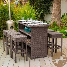 wicker bar height dining table: full size of patio amp outdoor  pc brown wicker dining bar set resin wicker