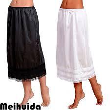 s <b>Elastic High</b> Waist Bust Skirts Smooth Swing Dress Underskirt Anti ...