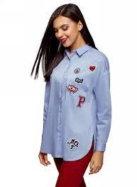 <b>Рубашка</b> женская oodji, цвет: голубой. 13K11004/42785/7000N ...