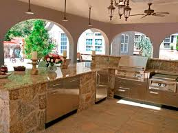 gallery outdoor kitchen lighting: unusual pendant lighting and stone countertop idea feat modern stainless steel outdoor kitchen cabinets