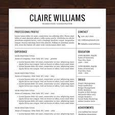 elegant resume template premium line of resume cover letter    instant download resume template cv template for ms word the claire elegant resume design in black shineresumes