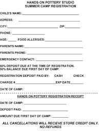 summer camp registration form template