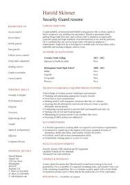 security guard resume security guard sample resume