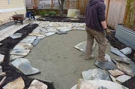 stone patio installation:  classy flagstone patio installation for your home interior design remodel with flagstone patio installation
