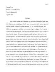 UGC     Research Paper Outline   Outline Gandhi I  Introduction on