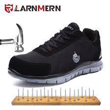 LARNMERN Men Breathable Flyknitt <b>Mesh Safety</b> Shoes <b>Summer</b> ...