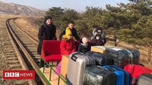 North <b>Korea</b>: Russian diplomats leave by hand-pushed trolley - BBC ...
