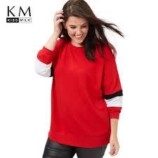 <b>kissmilk 2017 Plus</b> Size Hit Color Women Sweatshirts Drop shoulder ...