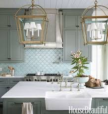painted blue kitchen cabinets house: green gray kitchen cabinets blue fan shaped tile and brass light fixtures a round house beautiful