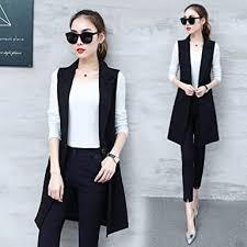 HKRT Classic Women's Long Blazer Vest <b>Elegant Office Lady</b> Coat ...