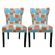 Fabric Dining Room Chair Kitchen Modern Bella Hopscotch Orange Blue Upholstered Dining