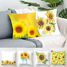 "18"" <b>Square Sunflower Print</b> Back Cushion Cover Pillow Case Home ..."