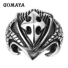 2019 <b>GOMAYA Mens</b> 316L Stainless Steel <b>Rings</b> Cross Punk ...