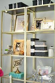 plain vittsjo shelves from ikea get a glam revamp into gold etageres fit for a luxe chic home office bedroom