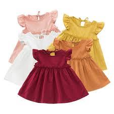 <b>Toddler girl</b> ruffled solid color linen <b>elegant</b> princess party dress ...