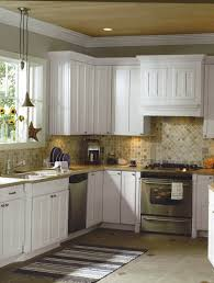 f adorable minimalist home kitchen ideas with white polished wood corner wall cabinet and mesmerizing boulder stone granite l shaped countertop base chic small white home