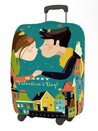 <b>Чехол для чемодана</b> Happy Valentines Day размер M Kiss ...