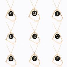 Hollow Love Heart Pendant Letters <b>Necklace For</b> Women <b>Double</b> ...