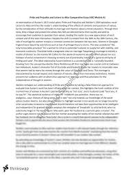 essay on prejudice pride and prejudice and letters to alice comparative essay module  pride and prejudice