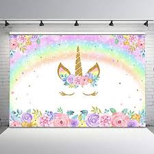 neoback rainbow unicorn photography backdrop glitter star baby kids birthday party dessert table decorations photo background