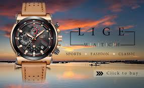 <b>LIGE Men's</b> Fashion Sport Quartz <b>Watch</b> with Brown Leather Strap ...