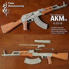 <b>1</b>:<b>1</b> Scale <b>87cm</b> AKM AK47 Paper Model <b>4</b> Colors Paper Model Gun ...