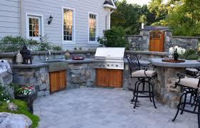 open kitchen design farmhouse: open air outdoor kitchen with stone farm house sink