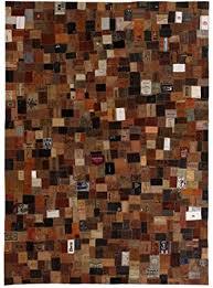 vidaXL <b>Genuine Leather</b> Denim Label <b>Patchwork Rug</b> 120 x 170 cm ...