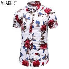 <b>2019</b> New <b>Men's</b> Slim fit Flower Printed Shirts Male <b>Short</b> Sleeve ...