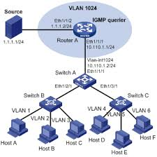 华三通信   technical support   h c s operation manual    figure   network diagram for ipv multicast vlan configuration