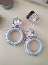 <b>Серьги</b>-<b>кольца</b> с кристаллами. Вечерние серьги. Вышитые ...