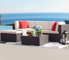 Devoko 5 Pieces Patio Furniture Sets All-Weather ... - Amazon.com
