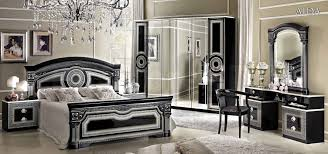 aida traditional bedroom set in black silver bed 2 nightstan black bedroom furniture collection